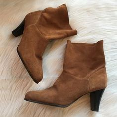 Markon Shoes | Markon Suede Leather Heeled Boots Booties 95 | Poshmark Leather Heeled Boots, Suede Leather, Shoes Heels Boots, Bootie Boots, Black And Brown, Booty, Blossoms, Stripes, Things To Sell