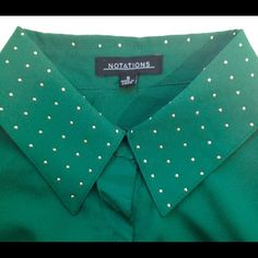 BOGO FREEEmerald Green Button Up Gold Studs New no tags. Button up. Notations Tops Button Down Shirts