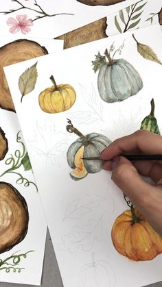 Quick video tutorial of fall pumpkin illustrations.  #tutorial #art #artist #painting #paintingtutorial #paintingtips #artwork #watercolour #watercolor #painting #paintingart #processart #artteachersofinstagram #arttutorials #arttechniques #pumpkin #fall
