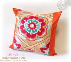 Vintage Japanese Kimono-OBI--pillow case, cushion cover, silk cushion,sofa bedding,embroidery on orange base--Made in Japan 006 by Hime21 on Etsy