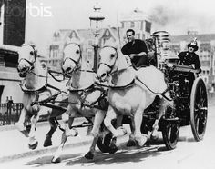 Horse Drawn Fire Engine Running to Fire