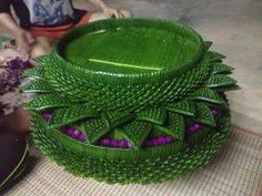 Floating Krathong...made with banana leaf and flowers.