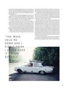 Interesting use of PQ and image. HUCK Magazine The Shaun Tomson Issue Page Layout Design, Graphic Design Layouts, Book Design, Magazine Cover Layout, Magazine Layout Design, Magazine Layouts, Essay Layout, Book Layout, Text Over Photo