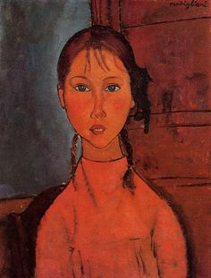 Girl with Braids - circa 1918 - Nagoya City Museum (Japan) - oil on canvas