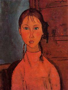 Amedeo Modigliani. Niña con trenzas, 1918. Óleo sobre lienzo. Colección privada. WikiPaintings.org - the encyclopedia of painting