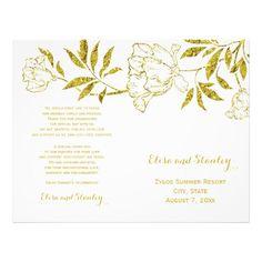 Gold foil peonies white wedding folded program flyer