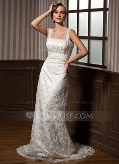 Sheath/Column Sweetheart Watteau Train Chiffon Lace Wedding Dress With Ruffle Beading (002012795)