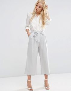 Grey Bow Tie Pants and White Button Down