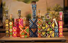 limited edition of shea butters by L'Occitane, with patterned packaging that references West African traditional Bogolan fabric