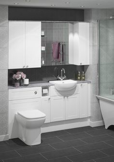 For a classic and timeless bathroom look no further than Banbury. The shaker style doors are always on trend and will give you a unique bathroom you will fall in love with. This bathroom will feel as luxurious as it looks. Timeless Bathroom, Beautiful Bathrooms, Shower Makeover, Shaker Style Doors, Bathroom Styling, White Bathroom, Atlanta, Bathroom Designs, Fall