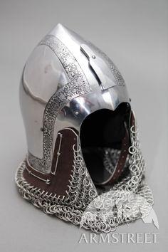Medieval Italian Etched Bascinet Helmet Narrow Face