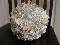 Deposit on MEDIUM bridal brooch bouquet  pearls and by Croska, $215.00