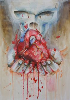 """A person is, among all else, a material thing, easily torn and not easily mended.""   Painting I finished recently. Check out more of my art via www.society6.com/jayfreestyle #JayFreestyle #art #tattoo #skull #heart #painting #watercolor #watercolorartist #freehand #freestyle"