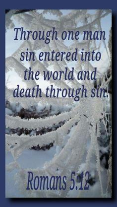 "Romans 5:12 ""Through on man (ADAM) sin entered into the world and death through sin."""