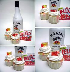 Jello Shot Cupcakes- these were a big hit, although probably not worth the effort. Regular cupcakes would have been just as good. Couldn't really taste the jello/Malibu. Köstliche Desserts, Delicious Desserts, Yummy Food, Tasty, Cupcake Recipes, Cupcake Cakes, Dessert Recipes, Cupcake Ideas, Yummy Recipes
