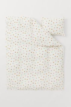 Cotton Duvet Cover Set - White/dotted - Home All | H&M US 2 Single Duvet Cover, Duvet Cover Sets, Cotton Duvet, Cotton Fabric, Office Supplies List, Uni Room, Lit Simple, H&m Kids, H & M Home