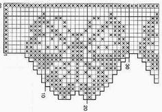Kira crochet: Scheme no. Filet Crochet, Crochet Borders, Crochet Chart, Thread Crochet, Crochet Stitches, Knit Crochet, Crochet Curtains, Crochet Doilies, Crochet Butterfly