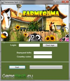 Farmerama Hack v3.0 is a program designed for people who do not have too much time, and want to have fun while playing in the farm. This program can add: barnyard bills and coins country. With this software you can have the best farm in the network. Gamehack.eu group has to make you have fun. But remember take your time!    http://gamehack.eu/2012/farmerama-hack-v3-0/