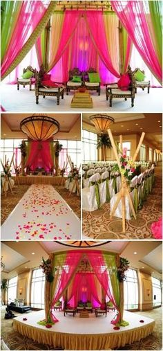 Colorful pink and green fabric mandap for an Indian wedding