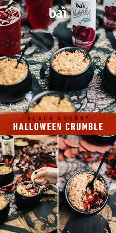 Black Cherry Hallowe Black Cherry Halloween Crumble recipe using Bubbles Bolivia Black Cherry. Holiday Treats, Halloween Treats, Halloween Party, Disney Halloween, Halloween Stuff, Happy Halloween, Halloween Decorations, Fall Recipes, Holiday Recipes