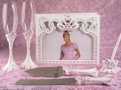 Set-PinkPrincess-453-455-457-459 Pretty Pink Princess Guest Book Pen Flute & Cake Server Set