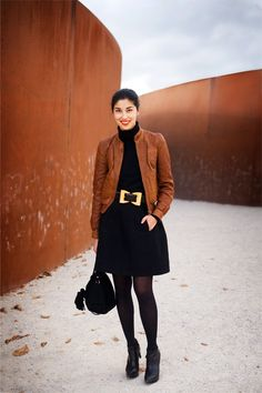 Style inspiration: brown jacket black skirt heels. clothing style women @roressclothes apparel closet ideas outfit fashion