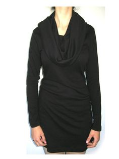 cowl neck  hooded  black   tunic  dress . by jaworska on Etsy, $75.00