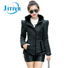 (28.53$)  Watch here - http://aivkv.worlditems.win/all/product.php?id=32717921212 - Jitivr Hot Women's Elegant Cotton Hooded Sweet Overcoat Fashion Female Slim Black Side Down Cotton Padded Warm Winter Jacket
