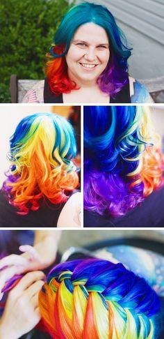 Rainbow hair makes me wish I had courage...LOVE IT!