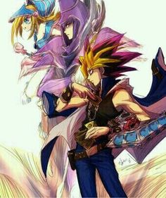 Yu-Gi-Oh! Atem dark magiciAn And dark magician girl. Loyal friends till the end. Remember how it was mentioned that Yugi was the last duelist to use Dark Magician? Probably because Mahad had completed what he started and saw his Pharaoh and best friend to the afterlife