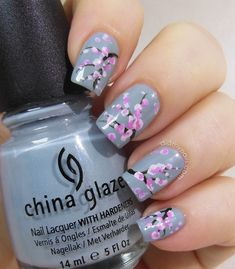 Sakura Nail Art fashion summer nails nail polish blossom summer fashion nail art manicure sakura spring fashion