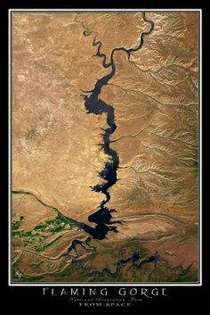 Flaming Gorge National Recreation Area Utah - Wyoming From Space Satellite Art Poster