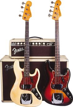 """Stack-knob"" is a catch phrase that for decades has perked the ears of collectors; these relatively rare examples of the earliest Fender Jazz Bass are among the first electric basses to be ""collect… Fender Bass Guitar, Fender Guitars, Guitar Amp, Cool Guitar, Acoustic Guitar, Stratocaster Guitar, Guitar Chords, Elvis Presley, Vintage Bass Guitars"