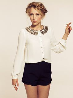 Dahlia Corinne Cream Blouse with Sequin Double Collar