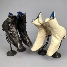 LOT 276 TWO PAIR KID LEATHER ANKLE BOOTS, 1860 - 1870 - whitakerauction