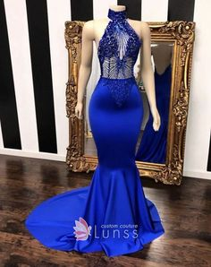 long prom dresses Off The Shoulder Zippers High neck halter beaded royal blue satin prom dress Sleeveless Illusion beading bodice Mermaid long prom dress with sweep train Blue Mermaid Prom Dress, Royal Blue Prom Dresses, Prom Girl Dresses, Prom Outfits, Mermaid Evening Dresses, Formal Dresses, Prom Gowns, Graduation Outfits, Bridesmaid Dresses