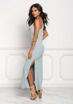 Dusty Blue Ribbed Knit Slit Maxi Dress - Midi and Maxi - Dresses Comfy Dresses, Lovely Dresses, Sexy Dresses, Cool Summer Outfits, Trendy Outfits, Nice Outfits, Festival Jumpsuits, Maxi Dress With Slit, Junior Outfits