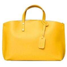 Delight in the simple sophisticated design of the Yellow Italian Leather Tote. Made from leather, this yellow handbag is spacious and stylish and secures with a magnet closure. Handle Style: Double…MoreMore Click visit link for more details Prada Handbags, Handbags Michael Kors, Tote Handbags, Purses And Handbags, Ladies Handbags, Tote Bags, Italian Leather Handbags, Leather Purses, Leather Totes
