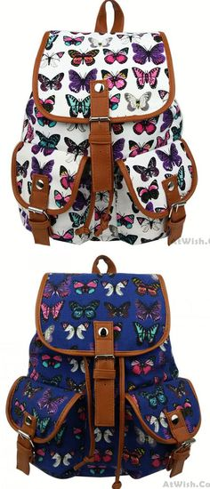 Leisure Butterfly Print Women Rucksack Two Pockets College Bag Canvas Backpack for big sale! #butterfly #Leisure #school #college #student #bag #backpack #cute #fashion #nice #travel