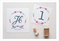 $0 free printable, custom printables, floral monogram, floral table numbers, free, DIY #weddingchicks #printables