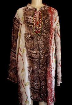 SERENADE 2X Long Tunic Top African Culture Print Beaded Sheer Viscose NEW $80 #Serenade #Tunic #Casual