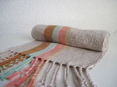 Mint, coral, amber set in a driftwood tone ~ Handwoven Cotton Scarf titled 'Neopolitan'