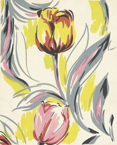Textile Design from 'Tulip' Series by Elza Sunderland (Hungary, active United States, California, 1903-1991) - 1942
