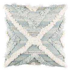 Color: Pale Blue, Light Gray, Cream Material: 65% Rayon, 28% Wool, 7% Cotton Back: Beige Cotton Hand Knotted, Knife Edge Made in India Down Insert Included Accent Pillows, Throw Pillows, Pillows Online, Goose Feathers, Beach Ready, Accent Furniture, Decorative Accessories, Decorative Accents, Custom Items
