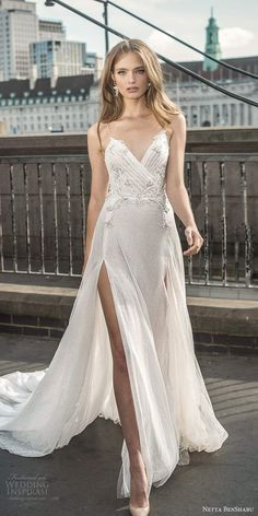 netta benshabu fall 2020 bridal sleeveless thin straps surplice v neckline embellished ruched bodice a line wedding dress slit skirt chapel train mv -- Netta BenShabu Fall 2020 Wedding Dresses Formal Dresses For Weddings, Designer Wedding Dresses, Bridal Dresses, Wedding Tiara Hairstyles, Boho Gown, Gorgeous Wedding Dress, Bridal Boutique, Bridal Collection, Marie