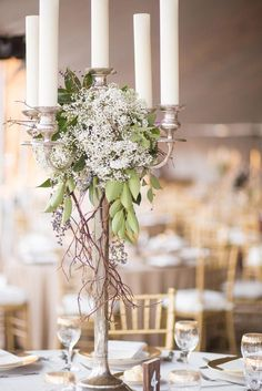 Baby's Breath Candelabra Wedding Centerpiece // candle centerpiece, rustic, fall wedding, tall centerpieces Image source Candelabra Wedding Centerpieces, Candelabra Flowers, Wedding Decorations, Centerpiece Flowers, Centerpiece Ideas, Table Decorations, White Floral Centerpieces, Chandelier Centerpiece, Simple Centerpieces