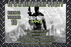 CALL OF DUTY MW3 4X6 INVITATIONS WITH ENVELOPES