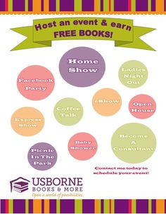 Hosting an Usborne Book Look Party is EASY, FUN, and you receive FREE books! There are so many ways to do it! Contact me to host your own party: https://r4349.myubam.com/Host