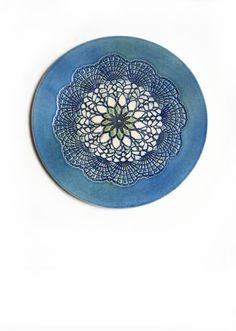 Keramik Wand Kunst Teller mit psychedelische Mandala von KunstLABor