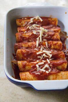 Sweet Potato, Monterey Jack & Manchego Chicken Enchiladas